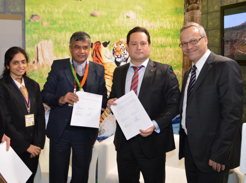 Sumit Mullik, Additional Chief Secretary and Manasi Kothare, Officer International Relations (MTDC) and Tourism Minister Alexander Bonde and SouthWest Germany CEO Andreas Braun sign the historic agreement.