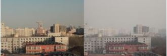 Smog in Beijing: The left photo was taken on December 5, 2015 at 5 pm, the photo on the right on December 6, 2015 at 2 pm.  Photos: Stefan Norra