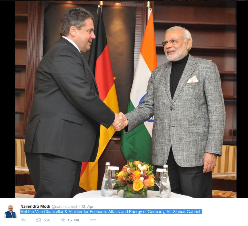 Narendra Modi ‏@narendramodi 13. Apr.  Met the Vice Chancellor & Minister for Economic Affairs and Energy of Germany, Mr. Sigmar Gabriel. Foto: twitter.com/narendramodi