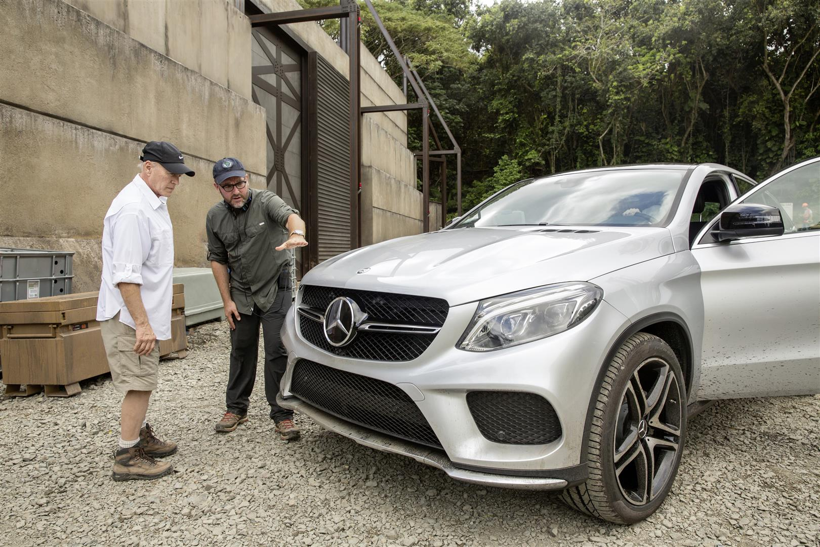 Producer Frank Marshall (left) and director Colin Trevorrow (right) preparing for filming the all-new Mercedes-Benz GLE Coupé on the set of Jurassic World. photo: mercedes-benz
