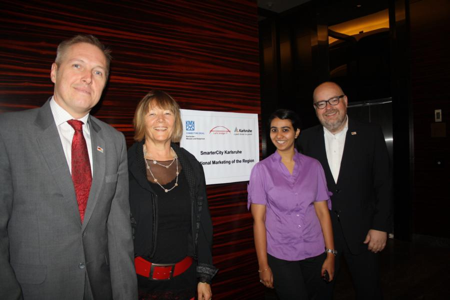 At Office Opening Ceremony in Pune: Ralf Eichhorn (City Council Karlsruhe), Representatives: Iris Becker and Winnie Kulkarni (Let's bridge IT), Martin Wacker (KMK)