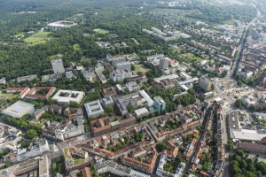 Urban heat islands in cities like Karlsruhe are influenced by factors, such as population density, surface sealing, vegetation, thermal radiation of buildings, industry, and transport.  Photo: KIT