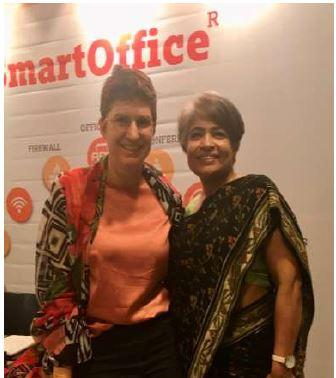Antje Scheerer in a meeting in the smart office in Pune