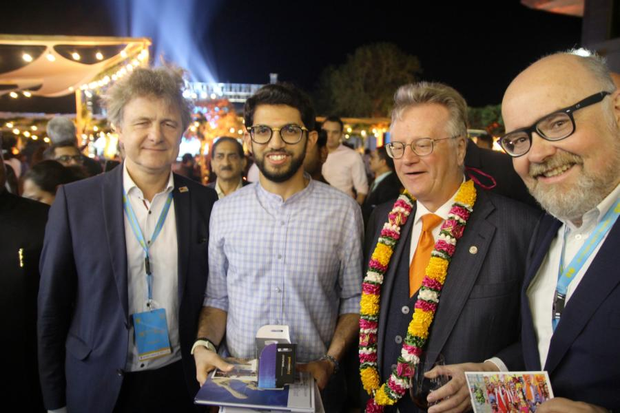 Oberbürgermeister Dr. Frank Mentrup, Minister of Tourism Aaditya Thackeray, Honorarkonsul Andreas Lapp, Martin Wacker