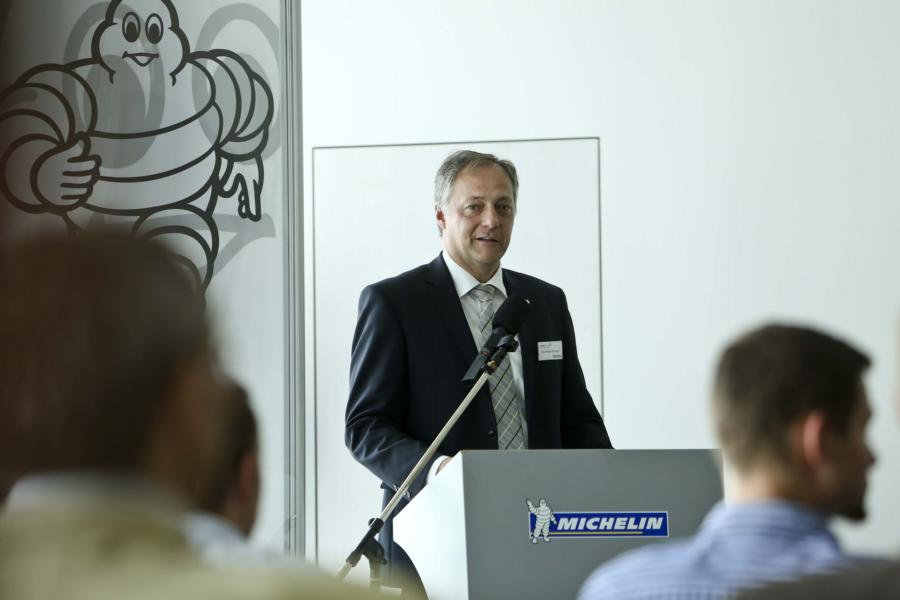 "Michelin Plant Manager, Christian Metzger, presents the project ""Apprentices as energy consultants"" during the launch of the"